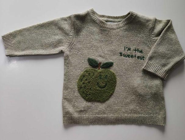 Свитер  Zara зелёный трикотажный на 6-9 месяцев 74 см