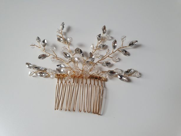 Złoty grzebyk z kryształkami i cyrkoniami
