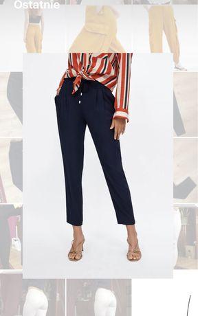 Granatowe spodnie chinosy wysoki stan Zara cygaretki hit must have