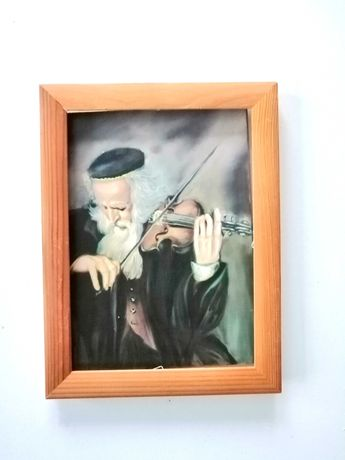 drewniany obrazek żydek żyd grający na skrzypcach na szczęście 12x18