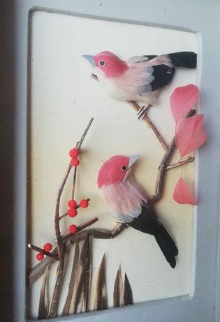 Antyk Stary piekny obrazek, ptaki