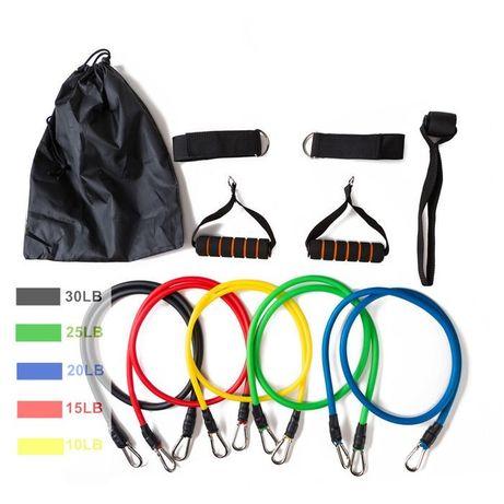 Набор трубчатых эспандеров для фитнеса в мешочке для хранения 5 резин