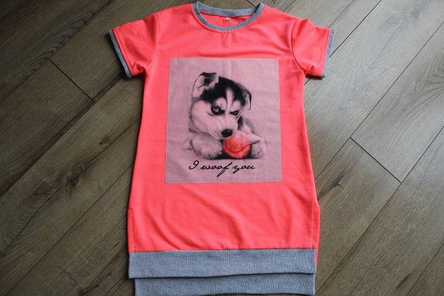 Neonowa bluzka z pieskiem 146, długa koszulka krótki rękawek pies 146
