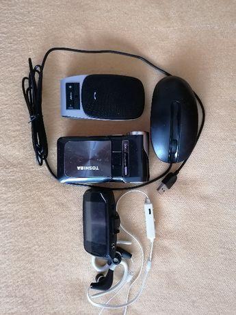 Kamera cyfrowa Toshiba, słuchawki BT,mysz,Jabra,rejestrator jazdy