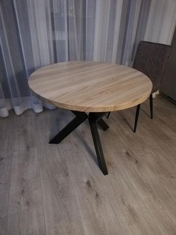 Stół, stolik drewniany okrągły na nodze z metalowego profilu