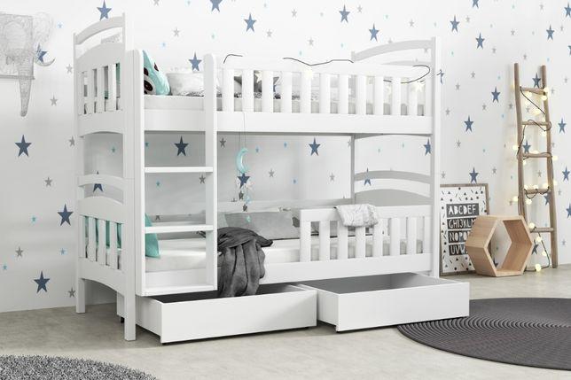 Piętrowe łóżko drewniane dwuosobowe z szufladami, materace gratis