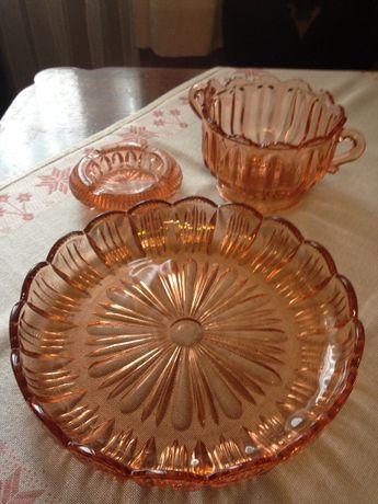 łososiowe krysztłowe szkło -patera ,cukiernica, popielniczka prl