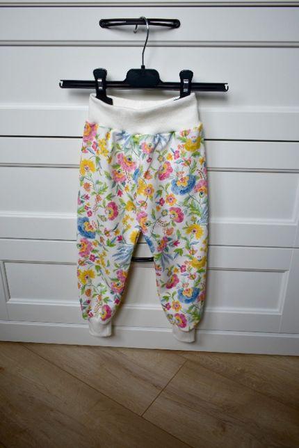 spodnie dresowe spodenki dziewczęce kwiaty kwiatki r. 98/ 104 handmade