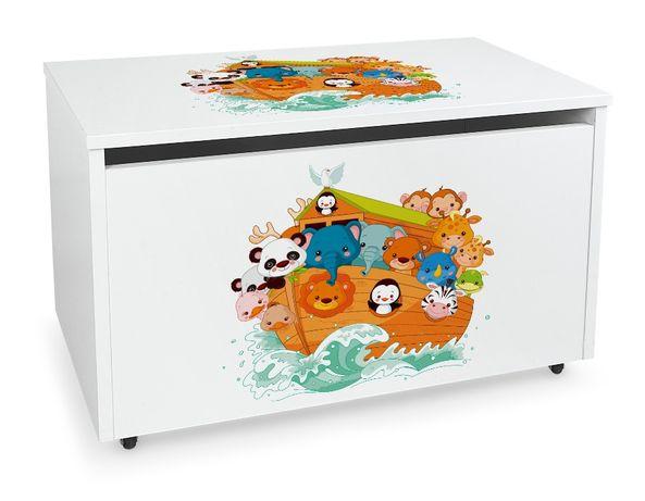Duża drewniana skrzynia na zabawki XXL na kółkach Motyw: Arka