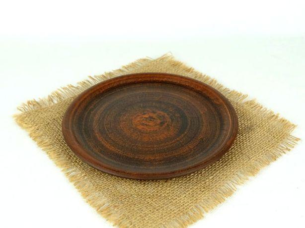 Тарелка простая 200 мм из красной глины, гончарная посуда
