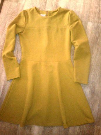 Платье горчица длинный рукав