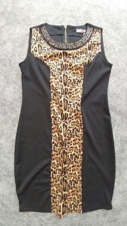 Sukienka cętki panterka Efekt wyszczuplenia Elastyczna S M