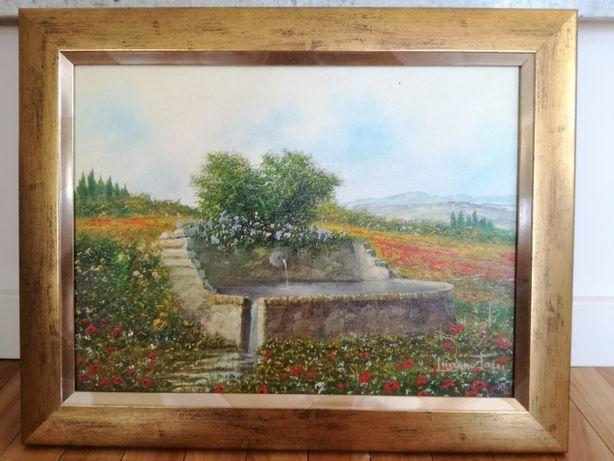 Włoski obraz krajobraz olejny dzieło sztuki galeria