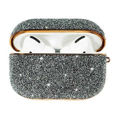Kingxbar Crystal Fabric błyszczące etui  AirPods Pro srebrny.