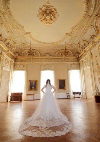 Роскошное  Итальянское Свадебное Пллатье А-силуэт со шлейфом 2021 год