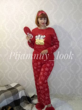 Теплая флисовая пижама женская + носочки+ повязка на глаза
