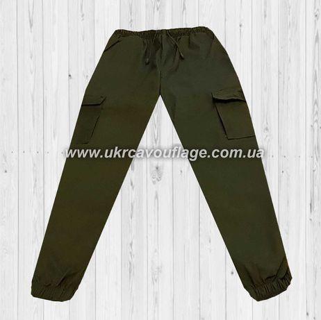 Штаны брюки карго олива с манжетами камуфляж