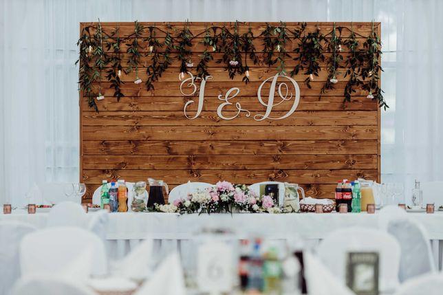 Drewniana ścianka / tło na wesele