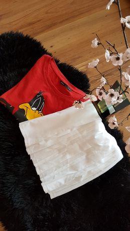 Cudny zestaw:) spódniczka plisowana MONKI -nowa t-shirt HAUSE roz XS/S