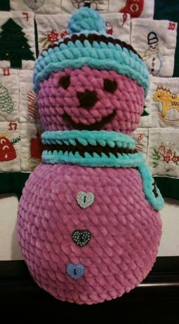 Снеговик плюшевый мягкая игрушка вязаная сніговик новогодний декор