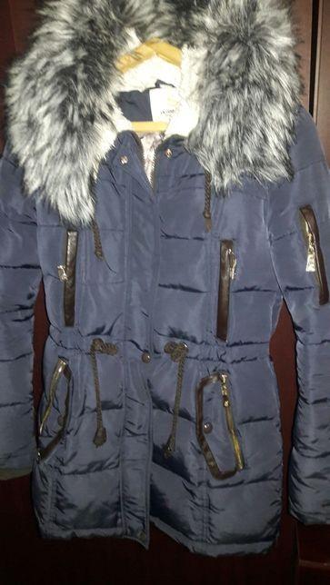 Зимняя удлиненная куртка с мехом