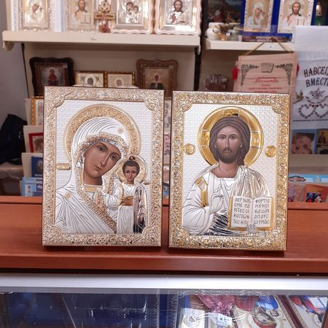 Иконы венчальные серебряные 12х16 см, Иисус, Богородица из Греции