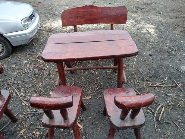 Meble ogrodowe drewniane stół +1 ławka + 2 krzesła meble tarasowe