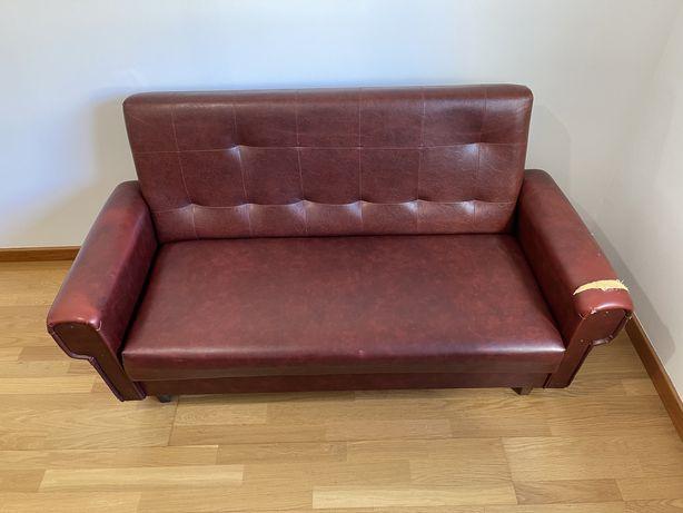 Sofá vintage couro vermelho