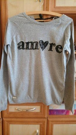 Szara bluzka sweterek z napisem Amore marki House w rozmiarze S