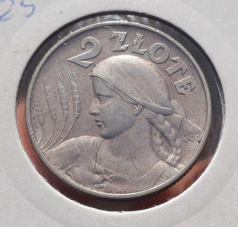 2 zł 1925 zniwiarka z kropką- bardzo ładny stan II RP monety