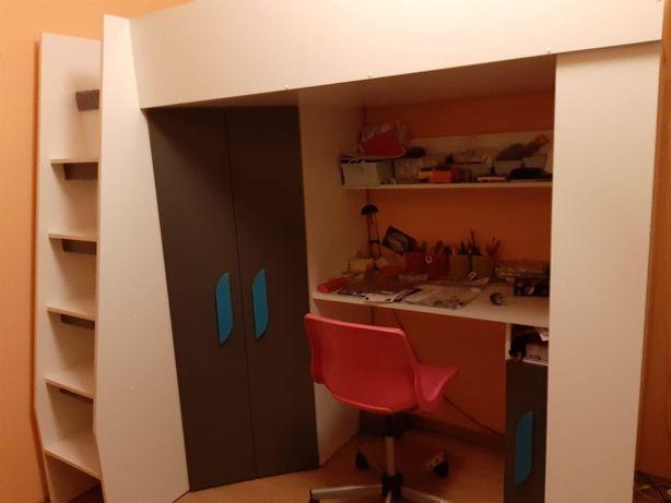 Zestaw mebli dziecięcych łóżko szafa biurko + krzesło i materac GRATIS
