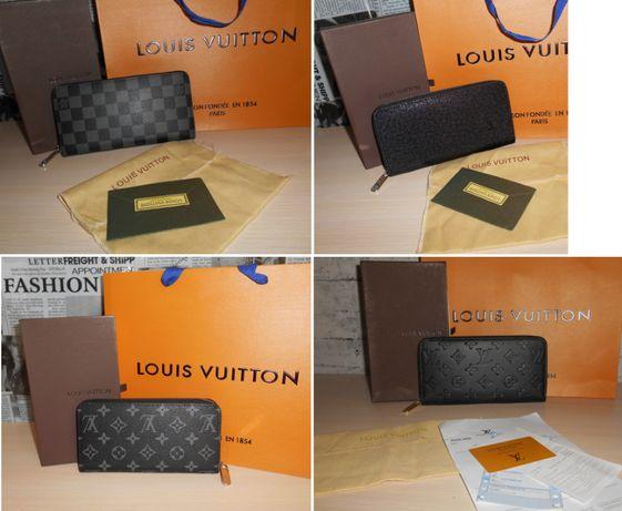 Кошелек портмоне клатч черный LV, Louis Vuitton, кожа, Франция 004