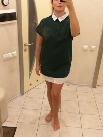 Платье рубашка с воротником рубашки oversize зелёное стильное