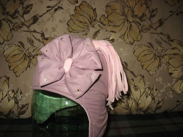 Шапка теплая болоневая сиреневая для девочки 1,5-3 года (размер 46)