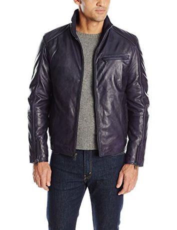 Новая синяя кожаная куртка Emanuel Ungaro Размер XXL