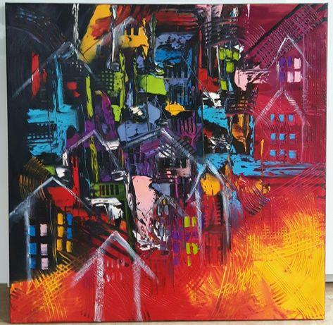 MIASTO obraz olejny 80x80 faktura farby KatarzynaArt