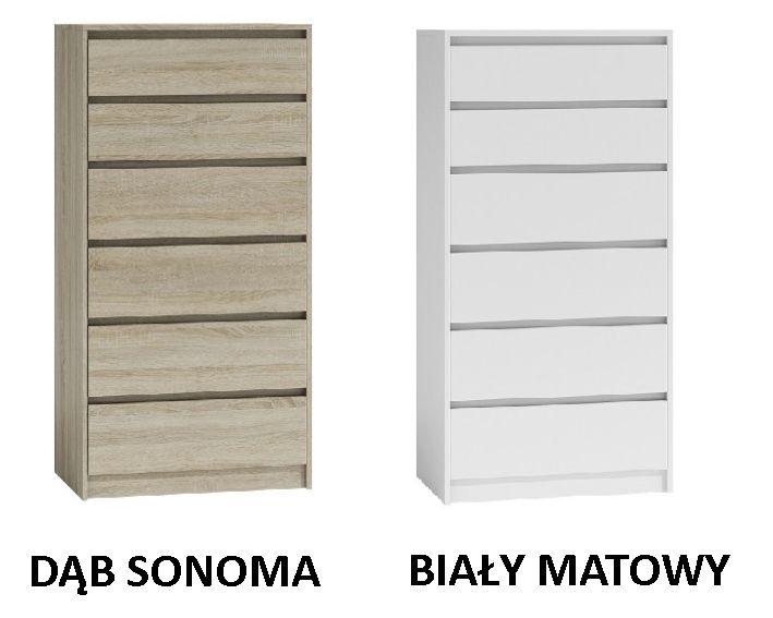 K6 / TANIA pojemna KOMODA szafka 6 SZUFLAD / 4 kolory / 139x70x43cm Gdańsk - image 1