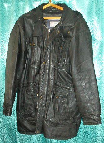 Мужская кожаная куртка, длинная, с тёплой подкладкой, 52-54 размера