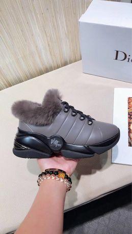 Зимние кожаные кроссовки Dior на меху