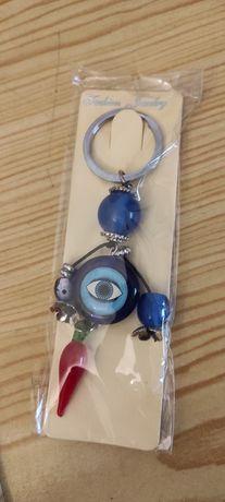 Porta-Chaves Azul Vermelho Olho do Mau Olhado, com Pimento Pimenta