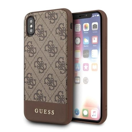 Etui Guess do iPhone X/Xs brązowy hard case 4G Stripe Collection
