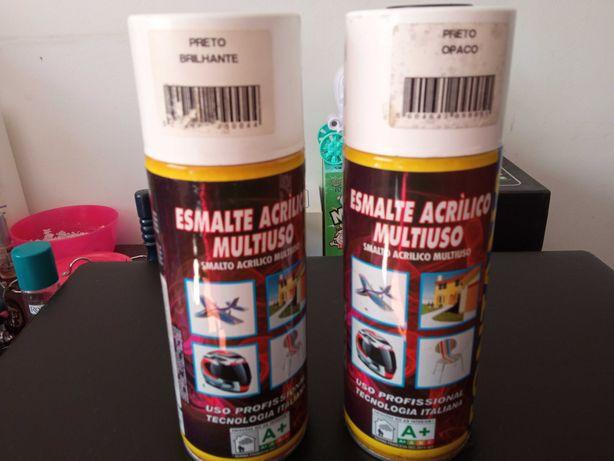 2 Latas de Spray de Esmalte Acrílico - Preto Brilhante e Opaco,Fontana