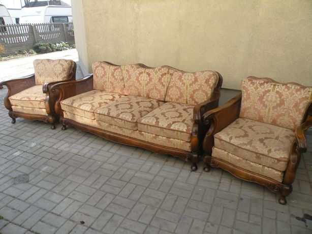 Sofa i 2 fotele Chippendale z rafią lata 30-te
