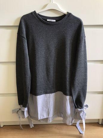 Szary sweter z koszulą w paski i wiązanymi rękawami rozmiar S Zara