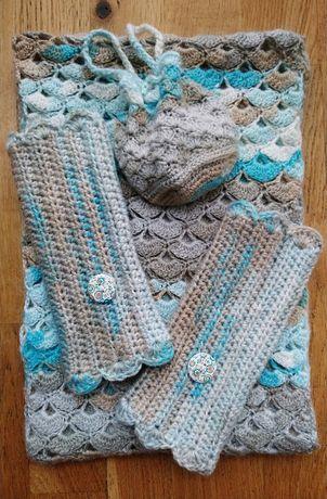 Oryginalny komplet szydełkowy w muszelki - handmade/ pomysł na prezent