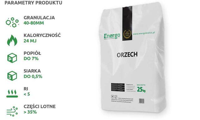 WĘGIEL Suchy ORZECH 40x80 suchy transport workowany 25kg