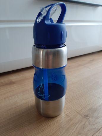 Biedronka butelka bidon dla dziecka stal plastik niebieski Nowy motyl