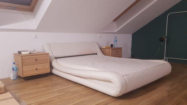 Łóżko z materacem białe 140cm eko-skóra
