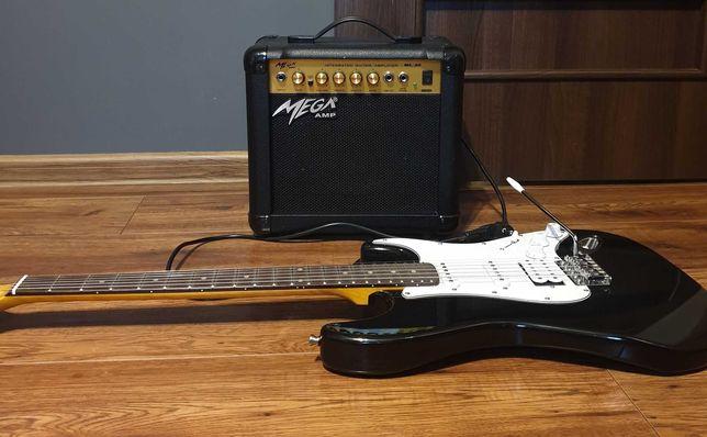 Zestaw gitara elektryczna + pokrowiec + wzmacniacz gitarowy