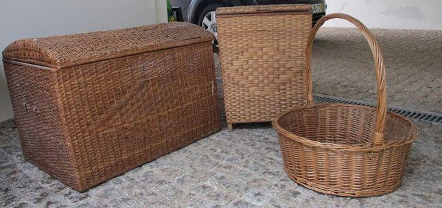 Vendo 3 Peças Antigas em Palha - Baú + Cesto +cesta